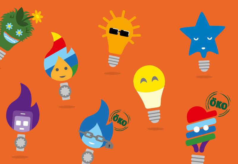 Bunte Icons der verschienden Energie-Tarife von Wien Energie