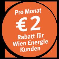 Pro Monat € 2 Rabatt für Wien Energie Kunden