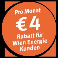 Pro Monat € 4 Rabatt für Wien Energie Kunden